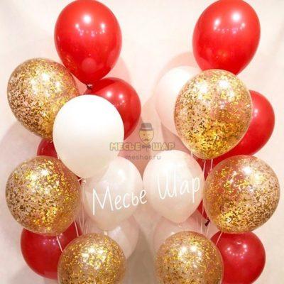 Фонтан красное золото из воздушных шаров в СПБ