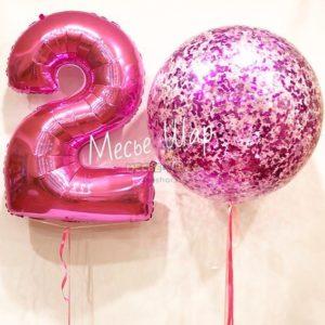 Гигант ярко-розовый - воздушные шары с конфетти в СПБ
