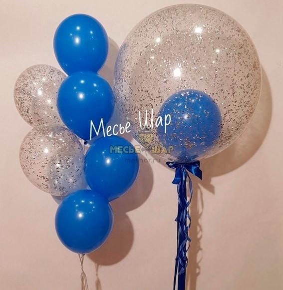 Гигант серебро - воздушные шары с конфетти в СПБ
