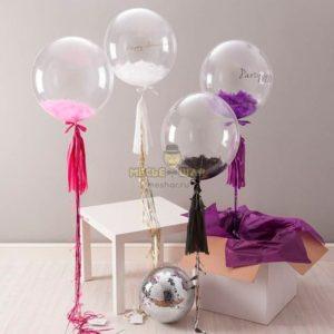 Прозрачный Bubbles (Баблс) перьями (61 см)