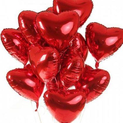 15 фольгированных сердец