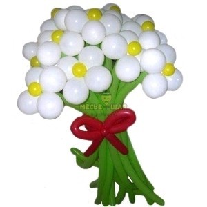 11 круглых ромашек из шаров
