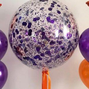 Шар 90 см + конфетти + атласная лента + обработка (фиолетовый)