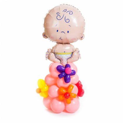 Пупс на стойке (девочка) из шаров на выписку