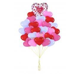 25 сердцец + фольгированное сердце к 14 февраля