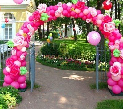 Арка Розовая из шаров