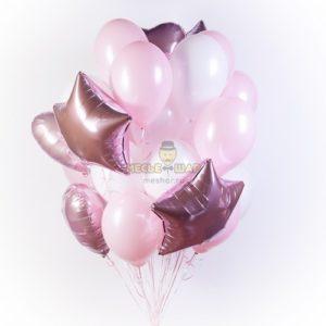 Бело-розовое облако из шаров (30шт)