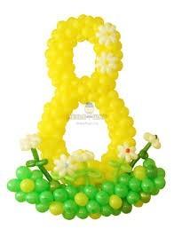 Цифра на каркасе желтая к 8 марта
