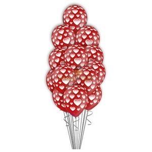 Фонтан из 15 шаров с сердцами