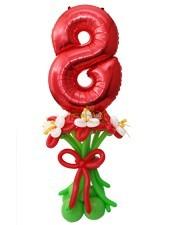 Фонтан с цифрой и цветами к 8 марта