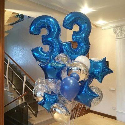 Фонтан с цифрами для мужчин из шаров