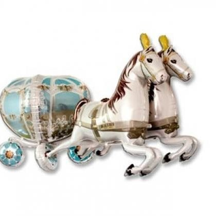 Фольгированный шар Лошади с каретой