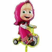 Фольгированный шар Маша на велосипеде