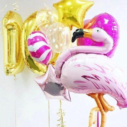 Набор Розовый фламинго из шаров детям