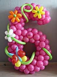 Цифра 6 с цветами #2 из шаров