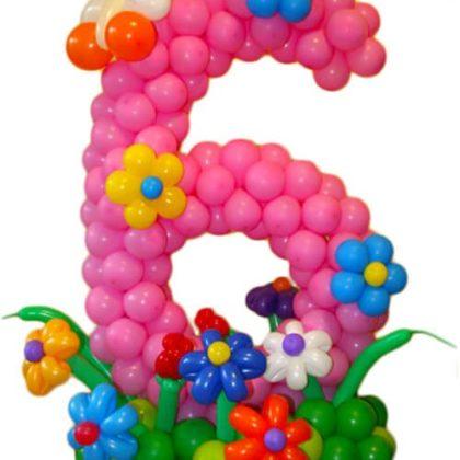 Цифра 6 с цветами из шаров
