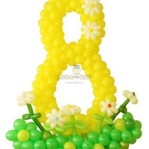 Цифра 8 и цветы из шаров