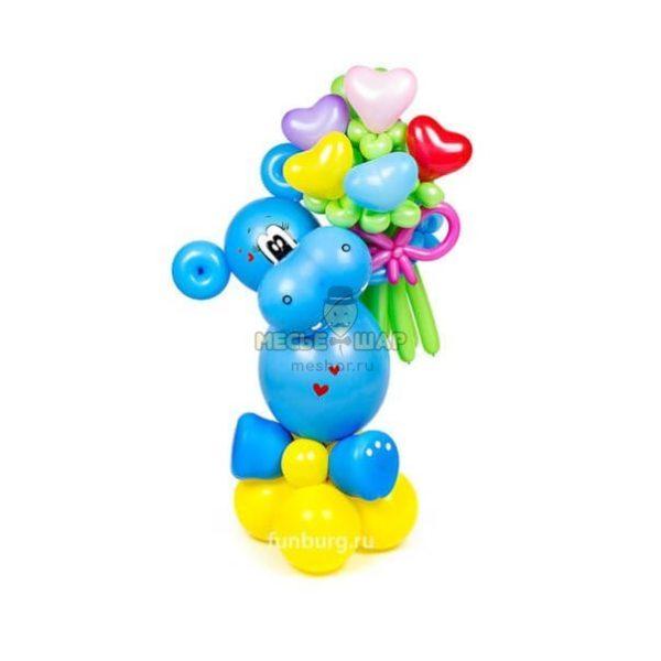 Бегемотик с букетом из шаров детям