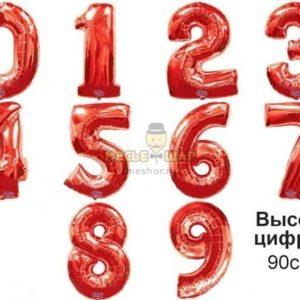 Цифра красная 90см из шаров