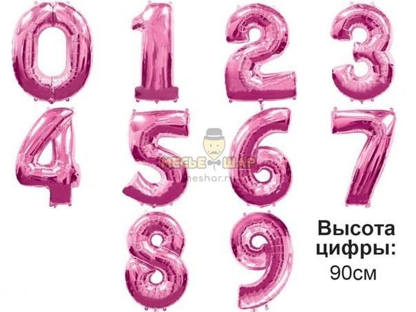 Цифры розовые 90см из шаров