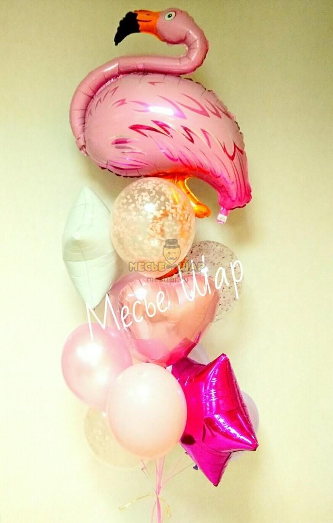 Фонтан с фламинго из воздушных шаров