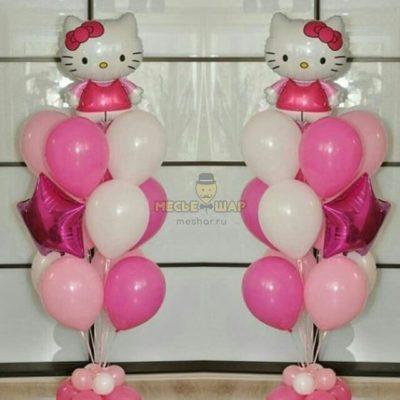 Фонтан с Китти из воздушных шаров