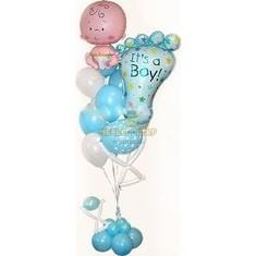 Фонтан с ножкой и пупсом из шаров на выписку