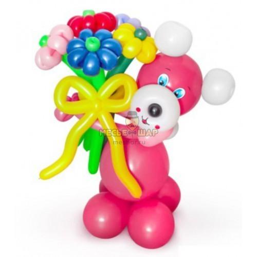 Мишка с букетом из шаров детям