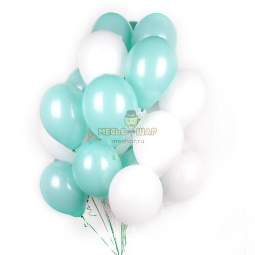Мятно-белый (30шт) - облако из шаров