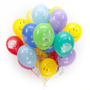 Смайлы и с Днем рождения 30 шаров