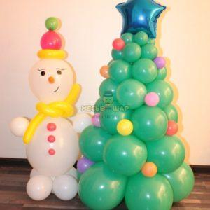 Снеговик + елка шар на Новый год