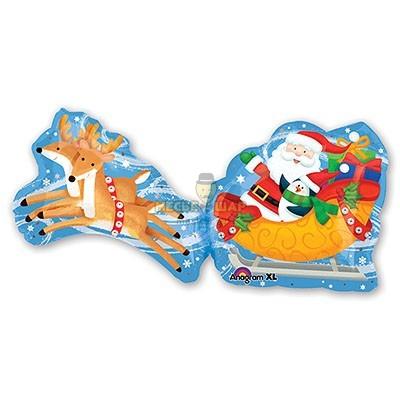 Дед Мороз на санях шар