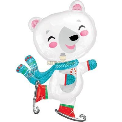 Мишка на коньках из шаров