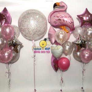 Розовый фламинго - набор из шаров