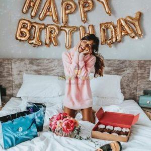 Надпись Happy Birthday из воздушных шариков
