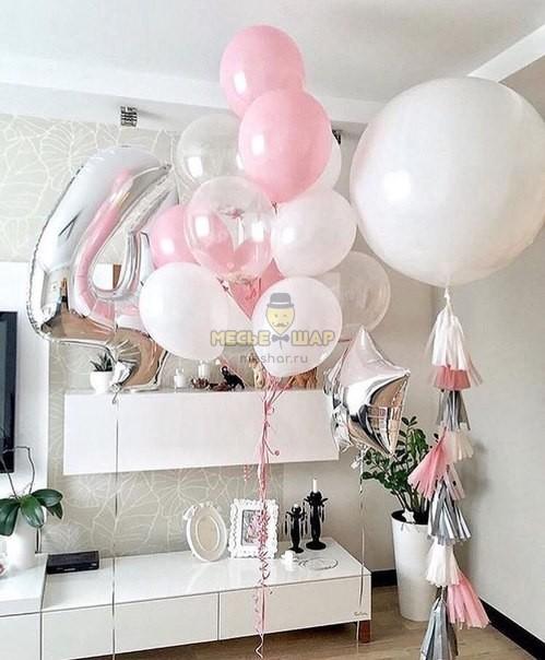 Белая нежность - набор из воздушных шаров