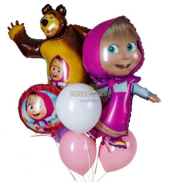 Фонтан из шаров с Машей и медведем