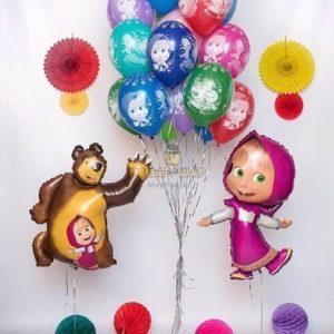 Набор из шаров с Машей и медведем