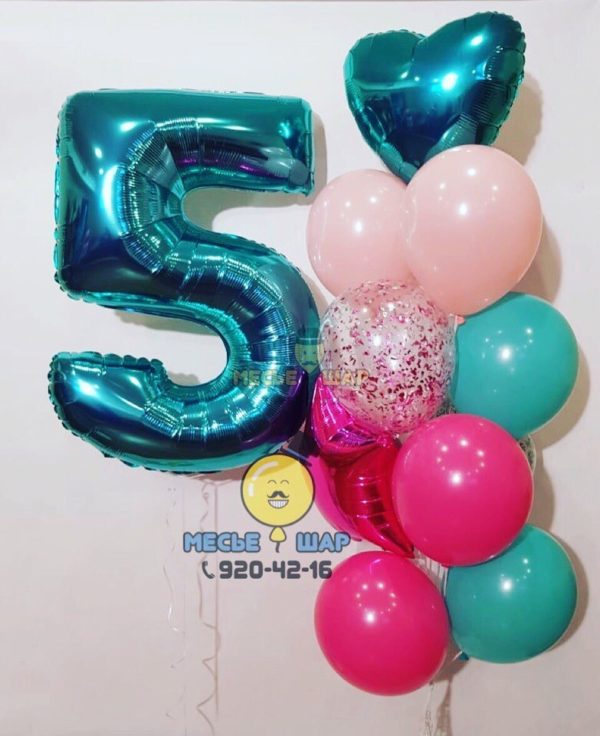 Набор Бирюзовый из воздушных шаров