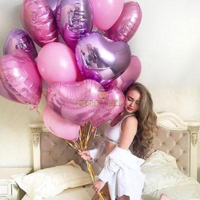 Фонтан из шаров на День влюбленных