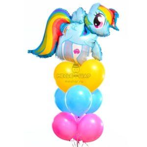 Набор голубая Пони с воздушными шарами