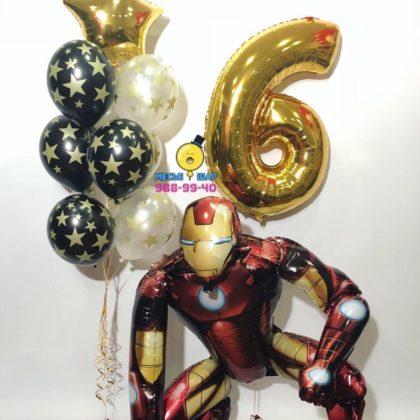 Железный человек с шарами и цифрой