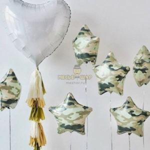Звезды камуфляж+сердце из шаров