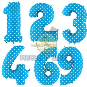 Голубые шары цифры в горох