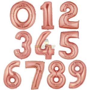 Шары цифры Розовое золото