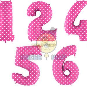 Розовые шары цифры в горох