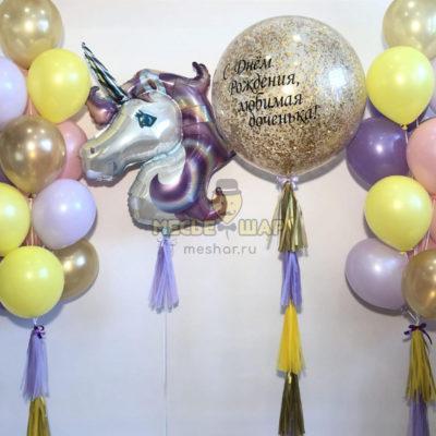 Фиолетовый единорог 2 из шаров