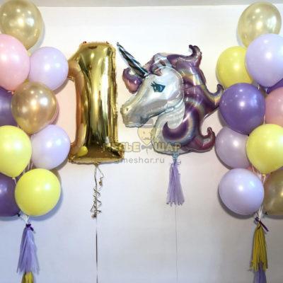 Фиолетовый единорог из шаров