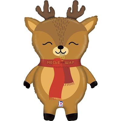 Шар олень с шарфом, 80 см