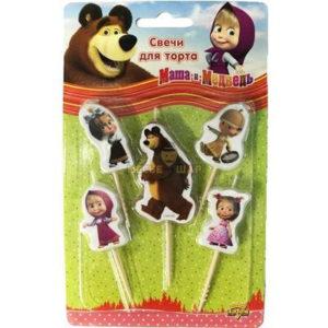 Свечи д/торта на пиках Маша и Медв 5ш